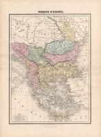 Törökország (Európa) térkép 1880, francia, atlasz, eredeti, 34 x 47 cm, Balkán, Görögország, régi