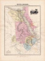 Egyiptom térkép 1880, francia, atlasz, eredeti, 34 x 47 cm, Afrika, Nubía, Abesszínia, Arábia, Nílus