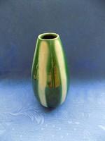 Régi iparművész zöld csíkos mázas kerámia váza 20 cm (3/d)
