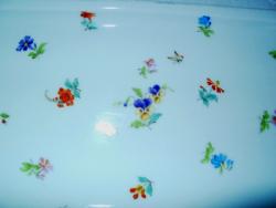 Gyönyörű pillangós virágos, nagy antik porcelán tálca, kínáló 44x15,5 cm
