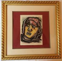 """Németh Miklós (1934-2012) """"Férfi Portré"""" arany üveges keretben"""