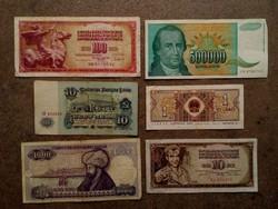 6 db külföldi vegyes bankjegy (id7734)