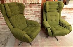 EXTRA !! Retró , loft design füles fotelek párban nagyon megkímélt 70 -es évek különleges !!!