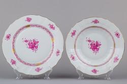 Herendi Apponyi purpur mintás lapos tányér és leveses tányér