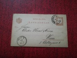 1882-es Levelezőlap 2 kr KECSKEMÉT - WIEN