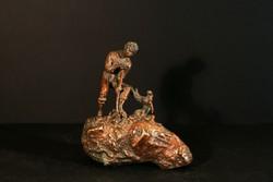 Carl Kauba Kincskereső Bécsi Bronz Szobor 1920. Treasure Seeker