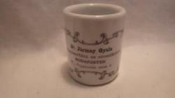 Antik feliratos porcelán gyógyszeres tégely Dr Jármay Gyula