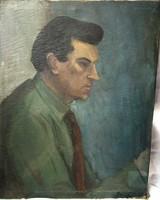 Szocreál olajfestmény, portré, vászon, jelztett, keret nélkül, 65 x 50 cm