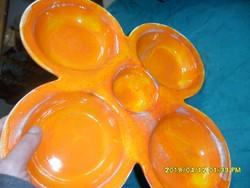 Retro narancssárga nagyméretű  kerámia kínáló tál
