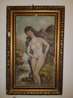 Szignós, öreg festmény, akt a patakban