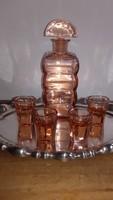 Art deco rosalin üveg likőrös szett,1920-30 körül