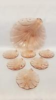 Gyönyörű szép konyak színű,  kagyló formájú 6 személyes tortás, süteményes készlet