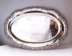 Gazdagon díszített, nagyméretű pesti ezüst tál, 1430 gramm!