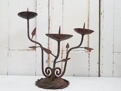 Régi vas gyertyatartó vintage háromágú 28 cm