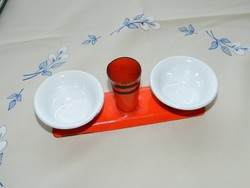 Retró zománcozott vas asztali fűszeres - sótartó