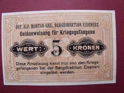 Eisenerz 5 korona K u K POW 1915
