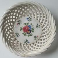 Hollóházi Riolit fonott,áttört, tál kézifestésű porcelán közepén minimális hibával mérete:18,5cmX6cm