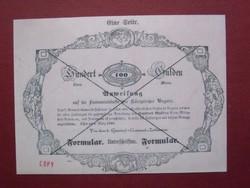 Almássy 100 gulden forint 1849 formular MÁSOLAT