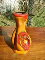 MÁ jelzésű kellemes színösszeállítású csorgatott mázas retro váza