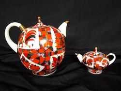Új ára 392 dollár-  Lomonosov teás kanna pár,kézzel festett,22K aranyozott