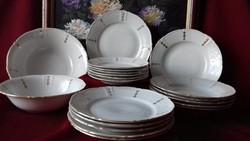 Kahla porcelán étkészlet, tálalókészlet, tányérok, tálak