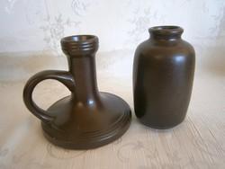 2 db Városlődi barna kerámia: gyertyatartó és váza