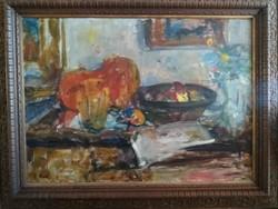 P. Bak János (1913-1981) monumentális asztali csendélet