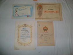Szocialista emléklap, oklevél, bizonyítvány - 1950/60 - négy darab