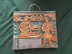 Zsolnay? pirogránit falikép patika motívummal Gyógyszertár IV.