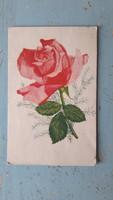 Régi virágos képeslap,rózsás üdvözlő lap