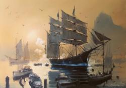"""Bánfalvy Ákos """"Alkony az öbölben"""" olajfestmény keretben ingyenes házhoz szállítással"""