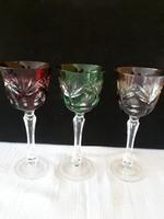 3 db gyönyörű csiszolt kristály pohár