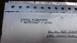 """"""" Hunnia Filmstúdió """" Irodai stencilek, 1963"""