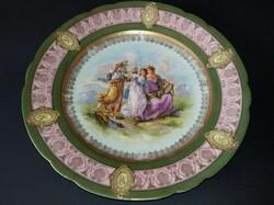 Aranyozott, kézzel festett porcelán tányér. Angelica Kauffmann.