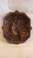 Öntött bronz tál , lány a konyhában galambokkal