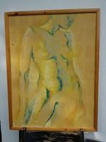 Jakucs János akt olajfestménye, farost, 60x80+ keret