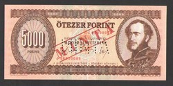 """5000 forint 1990. """"J"""".  MINTA!!  UNC!!"""