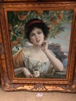 Nő gyümölcsfa alatt(tengerparti )olaj vászon festmény
