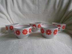 Retro hollóházi porcelán nagy csésze 5 db