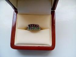 Antik smaragd-gránát köves 2 ezüst gyűrű(18állitható méret)