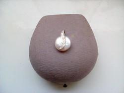 Csodaszép fehér gyöngy ezüst medál