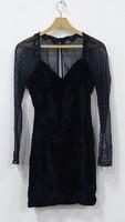 0W109 Roberta For Pour Algo fekete bársony ruha