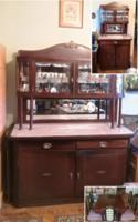 Szecessziós tálaló kombináció, 2 szekrény + asztal + 6 szék