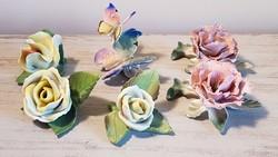 Herendi, ENS, Aquncumi  porcelán virágok + ENS pillangó egy csomagban!