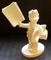 Hummel újságárus kisfiú figura, 13,5 cm --- FEHÉR