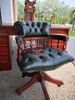 Gyönyörű,antik zöld színű,eredeti chesterfield irodai bőr forgószék (kapitányszék)!