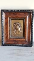 Antik Krisztus bronz/réz kisplasztika / domború plakett /keretben