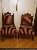 Ónémet karfás csíkos fotelek 2 db együtt