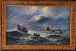 Johan Daniel Kollmann (1831 - 1857) Holland festőművész - Halászok..eredeti, szignált! Olajfestmény.
