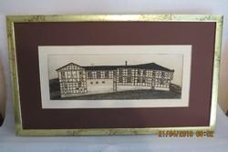 Sáros András Miklós (1945- ): Türingiai ház, 1977, litográfia, méret: 39*13 cm